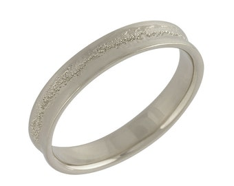 Men's Concave Hammered Wedding Band in White Gold