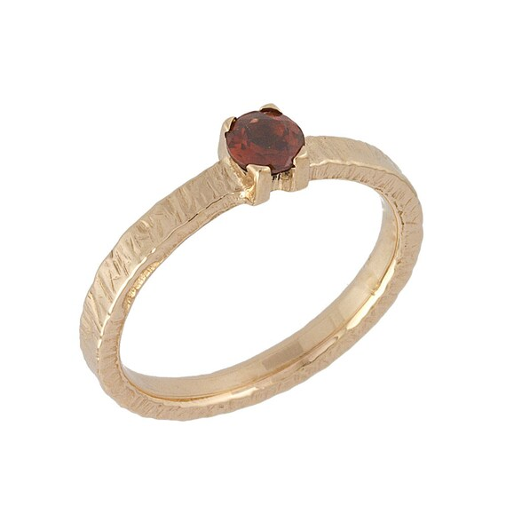 Vintage Hammered Round Garnet Engagement Ring 14k Rose Gold