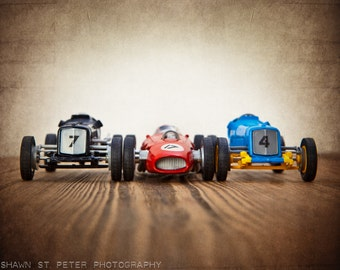 Vintage Toy Race Cars 3 cars lined up, Photo Print, Boys Room decor, Boys Nursery Prints