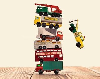 Vintage Stacked Matchbox Trucks Falling, Photo Print, Boys Room decor, Boys Nursery Prints
