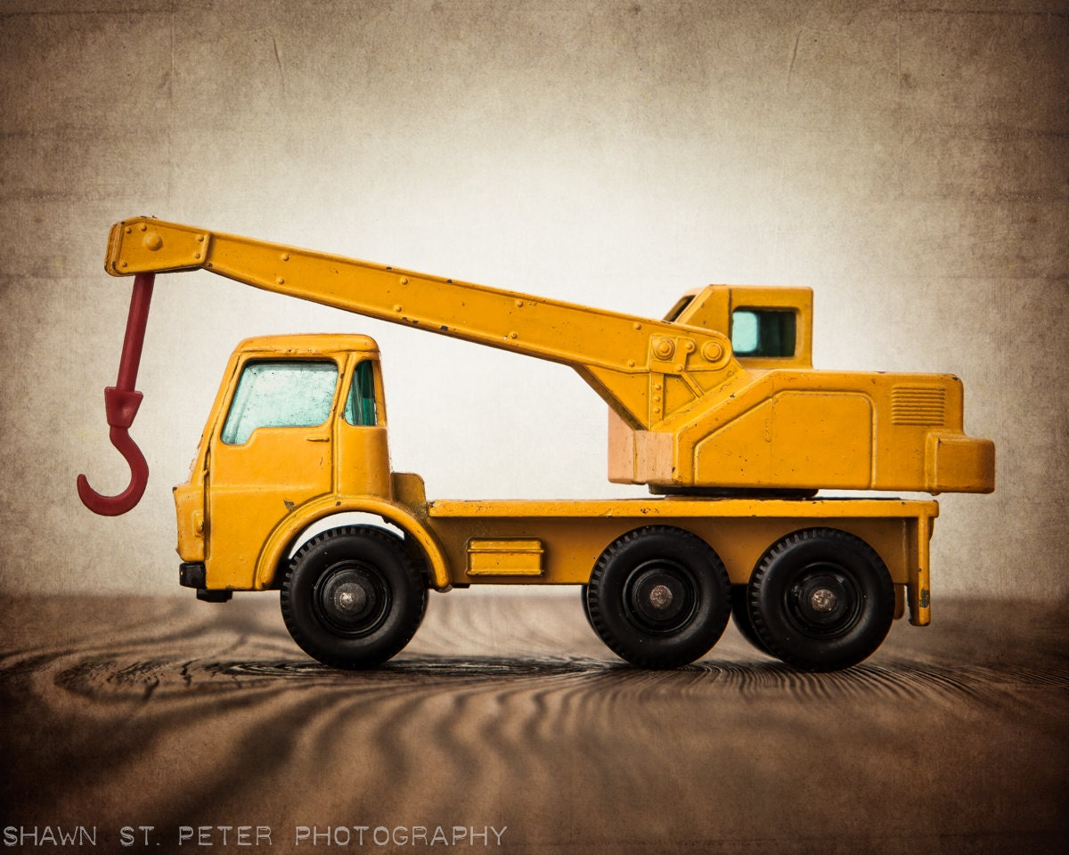 Toy Cranes For Boys : Vintage toy tractor crane one photo print boys room decor