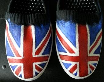 UK British Flag Handpainted  Shoes sneakers  Union Jack England Great Britian