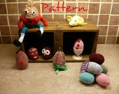 PDF crochet pattern for Easter Eggs, Humpty Dumpty and Mini-mice