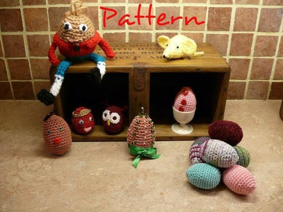 PDF crochet pattern for Easter Eggs, Humpty Dumpty and Mini-mice