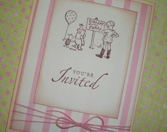 Winnie the Pooh Invitation Card - Birthday -  Christopher Robin, Winnie the Pooh and Piglet