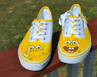 SOLD - Yellow hand painted sneakers size 7 1/2 with cute Sponge Bob square paints