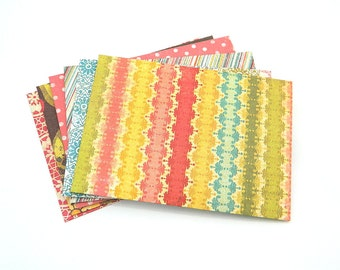 Colorful Envelopes - Handmade - Set of 6 - Red, Green, Orange, Yellow, Brown, Teal, White, Spring, Summer, Kids, Figures, Party Favor
