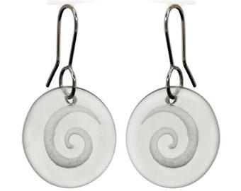 Clear Glass Spiral Discs.