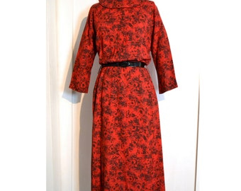 1950's/1960's Vintage Dress // Red Dress with Black Floral Print and Button Bacl by Lampl, Size Med