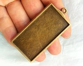 HEAVY --2pcs  50x27mm antiqued bronze rectangle bezel pendant blanks