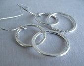 Silver Hoop Earrings Sterling Silver Jewelry Fine Silver Linked Double Hoops