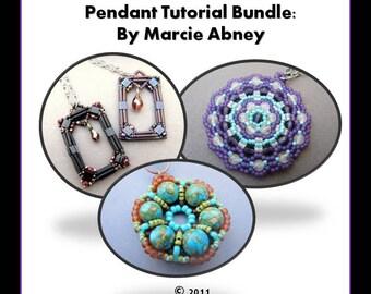 Buy 2 Get 1 FREE - Beadweaving Pendant Tutorial Bundle Beading Peyote Stitch Pattern Bundle Instructions PDF Jewelry Making Tutorial Beads