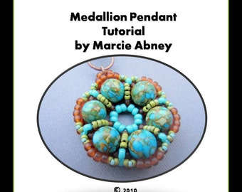 Beadwork Tutorial - Beadwoven Medallion Pendant with Seed Beads and Semi-Precious Stones Instant Download