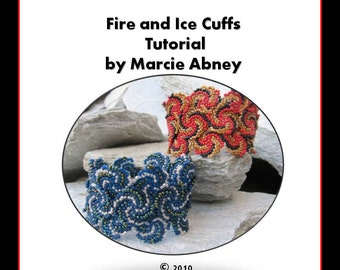 Beadweaving Tutorial - Fire and Ice Beadwoven Cuffs Instant Download