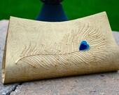 Threadpoets Peacock Clutch Bag in Gold Brocade
