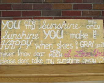You are my Sunshine SIGN Subway Distressed Yellow Gray Grey Handmade Hand-painted Wooden 18x42 WHAGN Made to Order