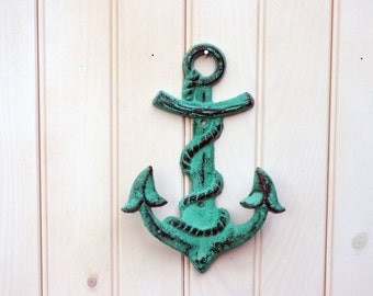 Cast Iron Anchor Wall Hook - Ocean Green - Beach Decor - Nautical Decor