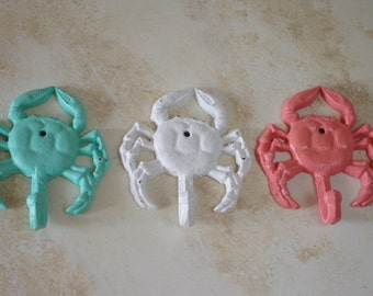 Cast Iron Crab Hook - Beach Decor - PICK YOUR COLOR
