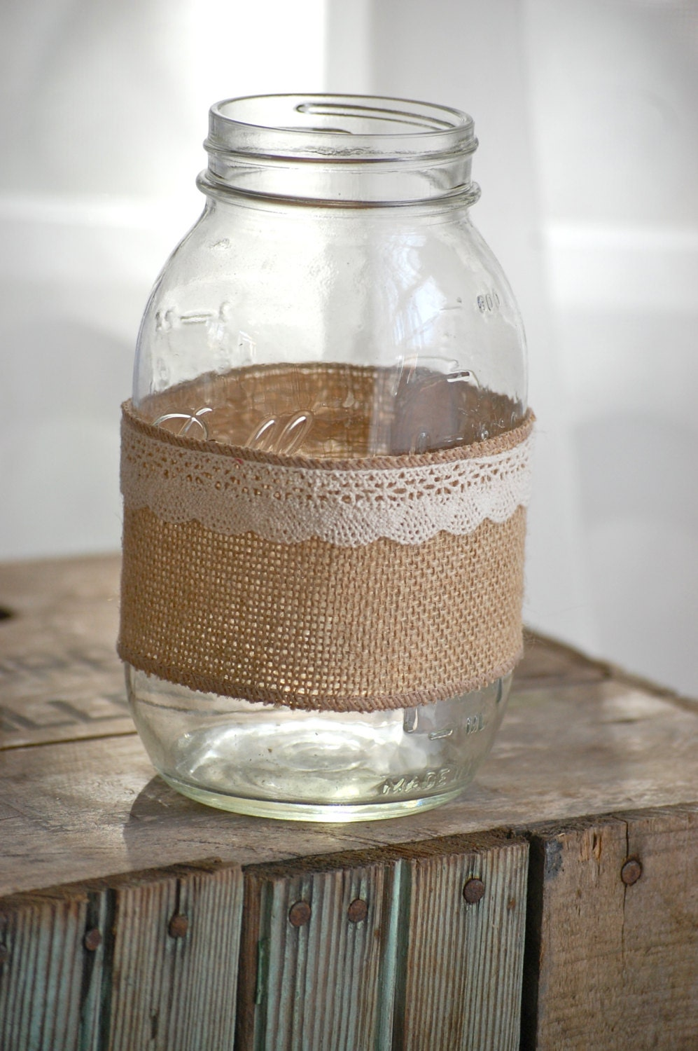 Burlap and lace mason jar, rustic wedding decor, country wedding decor ...