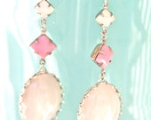 Vintage White Opal Pink Square White Opal Square Silver Scalloped Drop Dangle Earrings-Wedding,Bridal, Statement Earrings, Bridesmaid, Beach