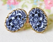 Vintage Navy Blue and White Floral Carved Japanese Oval Lacy Brass Setting Post Earrings -Wedding, Beach, Bridal, Bridesmaid