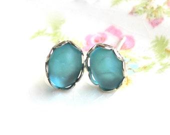 Vintage Aqua Blue Oval Glass Silver Scalloped  Rhinestone Post Earrings - Wedding, Bridal, Bridesmaids, Beach