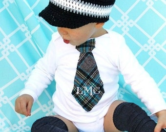 Baby Boy Holiday Outfit Monogrammed or Personalized Tie Bodysuit & Leg Warmers. Preppy Plaid Grey, Black, Aqua. Christmas, Thanksgiving