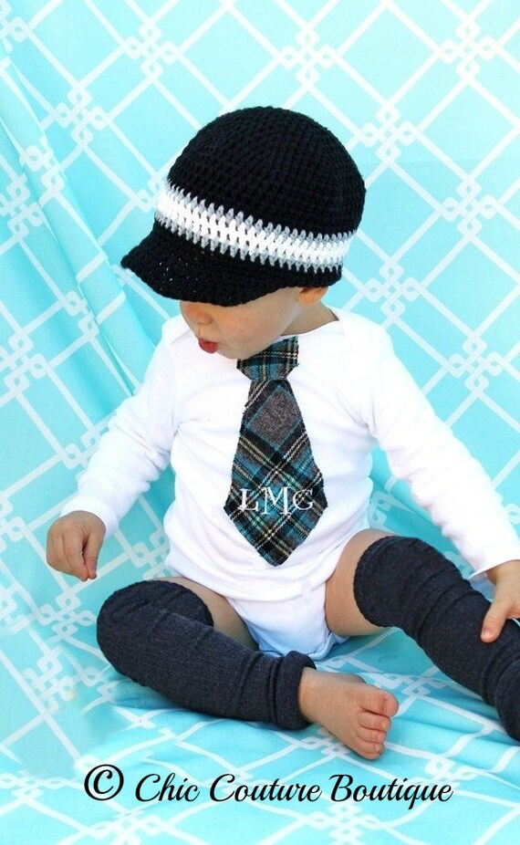 Baby Boy Easter Outfit Monogrammed or Personalized Tie Bodysuit & Leg Warmers. Preppy Plaid Grey, Black, Aqua. Mother's Day, Valentine's Day