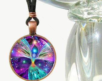 "Chakra Necklace, Unique Rainbow Jewelry, Angel Pendant ""Bubbles of Clearing"""