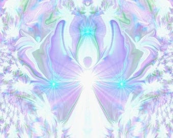 "Crown Chakra Art, Violet White Angel Decor ""On the Wings of Angels"""