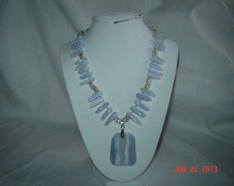 Blue LACE AGAT Gemstone Necklace, (hg14)