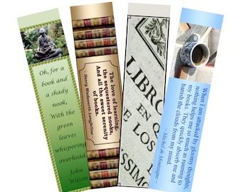 "Bookmarks. PDF, ""Book Lovers 1"", 4 printable digital designs"