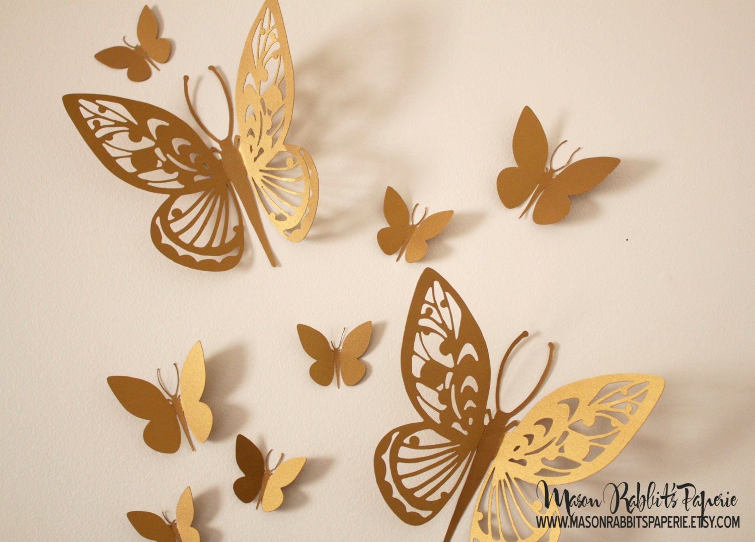 Gold R Wall Decor : D gold butterfly wall decal set for weddings decor