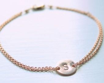 Initial bracelet, rose gold, monogram bracelet, personalised, sister, mother, wedding, pink gold, bridesmaid gift, bridal, trending