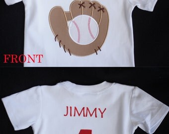 Baseball Baby and Toddler Personalized Birthday Shirt - Jersey Style with Back Name and Number - Short or Long Sleeves