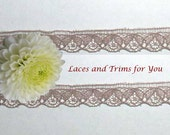 Dark Taupe Lace Trim 12 Yards Vintage Scalloped 1/2 inch wide Lot E24B Added Items Ship No Charge