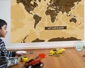 World Map Decal, Beautiful Big World, 50X70 Inches, Nursery Decor, Baby Room, Play room ideas