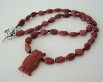 Gemstone Woodland Owl Necklace Beaded Red Jasper Carved Totem