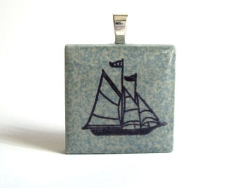 Ship Necklace Nautical Jewelry Rubber Stamped Tile Ceramic Tile Pendant