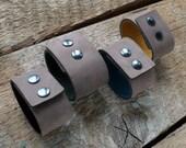 Grey Leather Cuff- Unisex Leather Bracelet