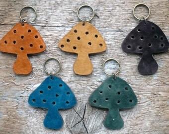 Leather Mushroom Keychain