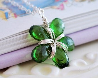 Emerald Green Necklace Chrome Diopside Child Children Girl Wire Wrapped Genuine Gemstone Flower Sterling Silver Jewelry May Birthstone