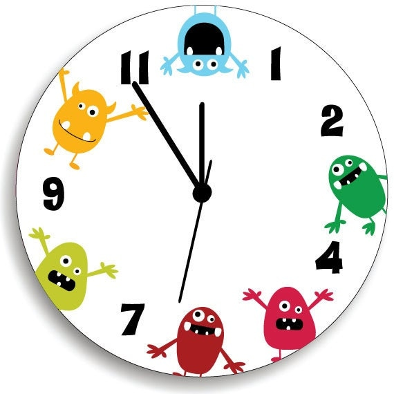 Monster WALL CLOCK for Kids Bedroom Baby Nursery Cute and Fun