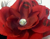 Red Rose with Kisses Hair Clip