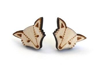 Woodland fox stud earrings ~ laser cut jewellery