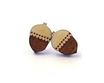 Woodland acorn stud earrings ~ laser cut jewellery