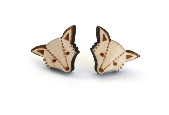Wooden Fox Stud Earrings