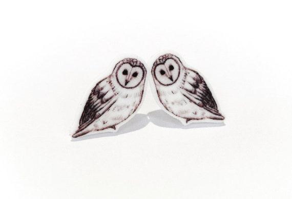 Owl stud earrings ~ illustrated bird earrings