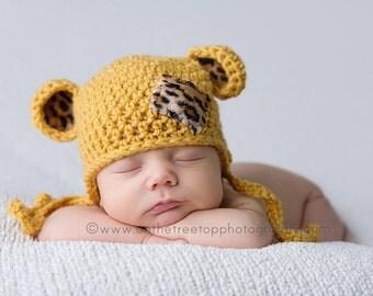 NEWBORN Hat, Baby Boy Leopard Hat, Baby Girl Leopard Hat, Baby Leopard Earflap Hat, Sungold Hat, Leopard Ears. Newborn Photo Props. Gift.