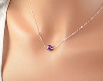 Single Pearl Necklace, Real Freshwater Pearl Choker, Grape Purple, Sterling Silver Jewelry, Free Shipping